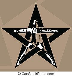 Pentagram - The man in the pentagram. Vector illustration.