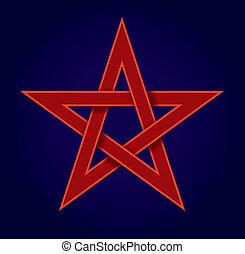 pentagram, vermelho