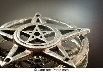 pentagram with reflection in the mirror an light - pentagram...