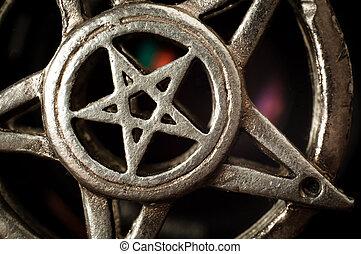 Pentagram with reflection macro shot - Pentagram with...