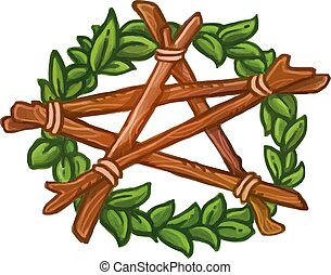 Pentagram wreath with ivy and wooden stickes. Isolated vector hand drawn illustration