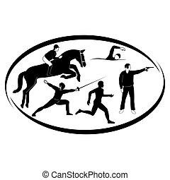 Pentathlon - Summer kinds of sports. Illustration on a...