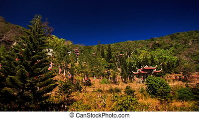 pente, ancien, pagode, appareil photo, colline verte, mouvements
