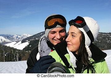 pente, couple, ski, jeune