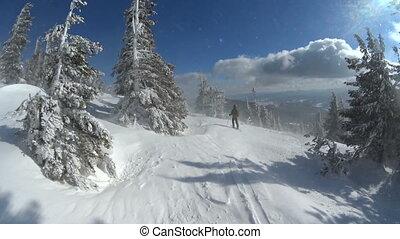pente, hiver, neigeux, ensoleillé, day., ski, skieur