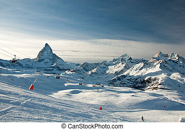 pente, matterhorn, ski, fond