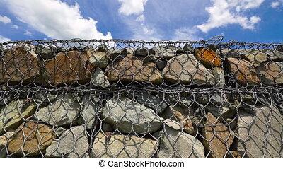 pente, montagne, mur pierre, empêche, gabion, bord route, sol, retenir, érosion, route