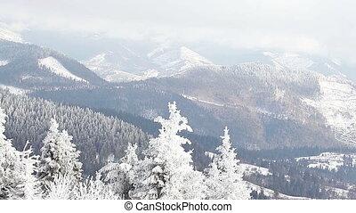 pente, montagne, neige