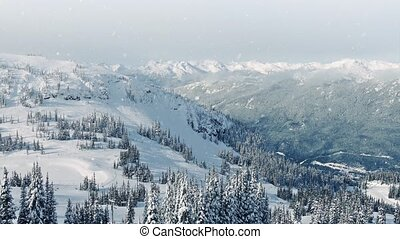 pente, montagne, ski, chute neige