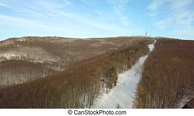pente, montagne, ski, neigeux
