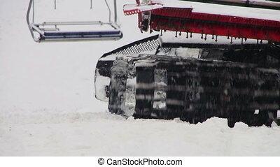 pente, montagne, snowcat, resort., travaux, ski