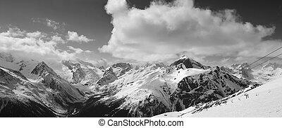 pente, montagnes, panorama, nuageux, noir, blanc, ski