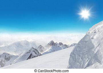 pente, montagnes, ski