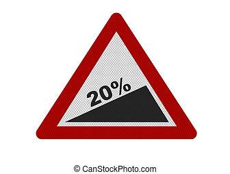 pente, photo, -, signe, réaliste, 20%, dépeindre, escarpé