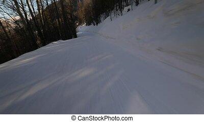 pente, ski, bas