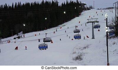 pente, sur, recours, suède, ascenseur, chaise, ski