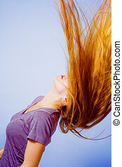 penteado, ação, -, mulher, com, cabelo longo, movimento