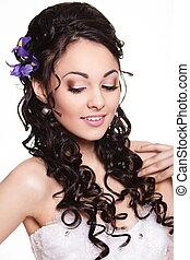 penteado, beleza, maquilagem, luminoso, casório, flores