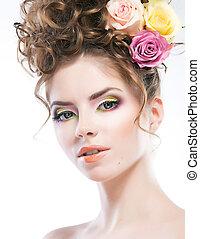 penteado, -, bonito, excitado, femininas, retrato arte, com, rosas