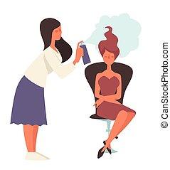 penteado, cabeleireiras, beleza feminina, cliente, salão, pulverização