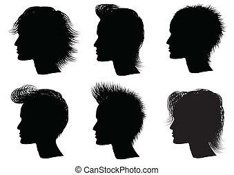 penteado, elementos, para, salão, com, face., vec, tor, retratos, de, homem