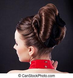 penteado, feriado, festivo, coiffure