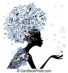 penteado, flor, desenho, trendy, menina, seu