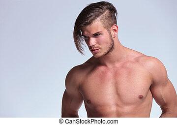penteado, fresco, homem, topless, jovem
