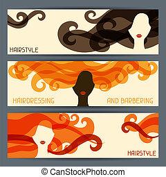 penteado, horizontais, banners.