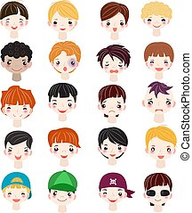 penteado, jogo, tom, características, facial, pele, retrato, manlike, personagem, isolado, vário, man-child, branca, ilustração, fundo, caricatura, menino, crianças, rosto, pessoa, vetorial, sujeito, macho