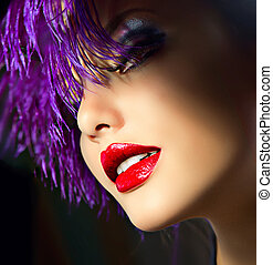 penteado, moda, arte, hair., violeta, retrato, menina