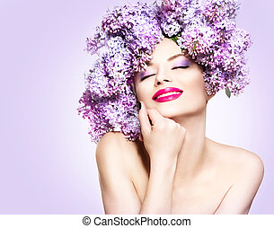 penteado, moda, beleza, lilás, modelo, flores, menina