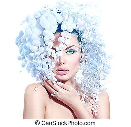 penteado, moda, inverno, maquilagem, neve, modelo, menina