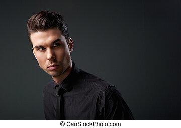 penteado, modernos, homem jovem, bonito