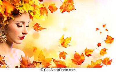 penteado, mulher, beleza, folhas, -, outono, laranja, menina, modelo