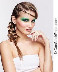 penteado, mulher, criativo