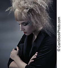 penteado, mulher, modernos