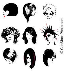 penteado, mulheres