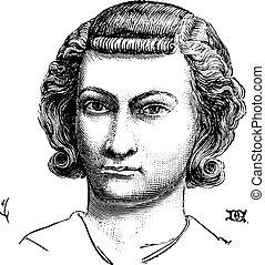 penteado, vindima, homens, nobles, burguês, engraving.