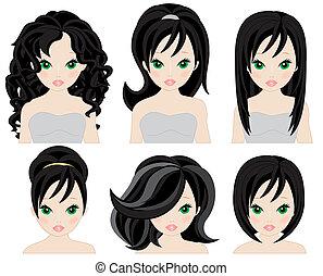 penteados, cabelo, pretas