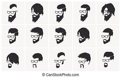 penteados, com, um, barba, e, bigode, vidros desgastando,...