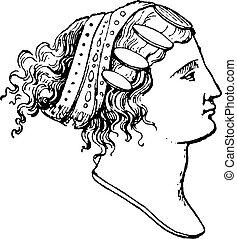 penteados, lydian, vindima, engraving.