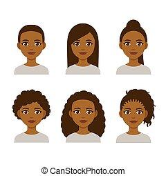 penteados, pretas, mulheres