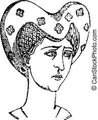 penteados, vindima, mulheres, 1360-1390, engraving.