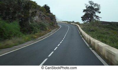 pentes, route, spain., montagne, végétation, îles, vert, ...