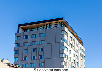penthouse, gebouw, rijhuis, plein