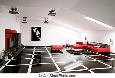Penthouse interior 3d render - Penthouse living room...