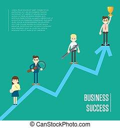 peole, bandeira, negócio, sucesso