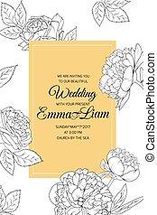 peonía, rosa, flores, invitación boda, negro, amarillo
