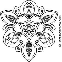 peonía, viejo, flower., tatuaje, hermoso, ornamental